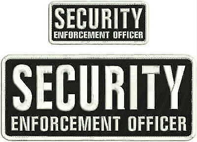 Security enforcement officer embroidery patch 4X10 hook white