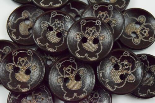 5/7 Round Wood Teddy Bear Engraved Childrens Kids, Buttons, Crafts 20MM - BU1138