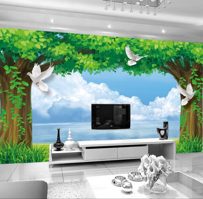 3D Tree Sky Lake 97 Wallpaper Mural Paper Wall Print Wallpaper Murals UK Lemon
