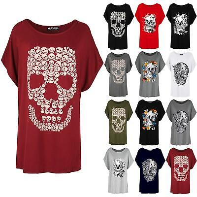 Womens Ladies Oversized Gold Foil Skull Batwing Lagenlook Baggy T-Shirt Top
