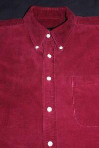 Evergreen-Corduroy-Burgundy-100-Cotton-Shirt-Button-Collar-Long-Sleeve-MEDIUM