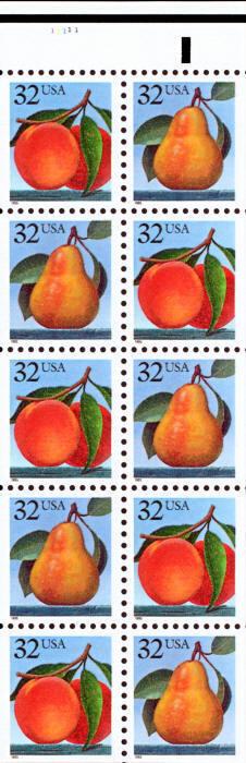 1995 32c Peach & Pear, Booklet Pane of 10 Scott 2487-24