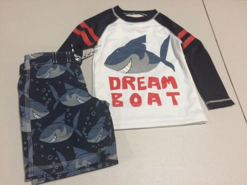 NWT Gymboree Toddler boy rash guard Top Trunk Shark Set 2T,3T,4T,5T UPF 50+