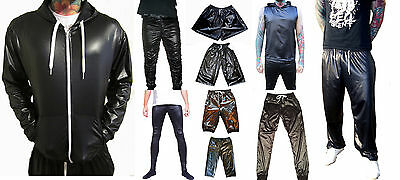 MENS WET LOOK SHINY SPORT TROUSERS TRACKSUIT SWEAT PANTS S M L XL 2XL 3XL 4XL 5X