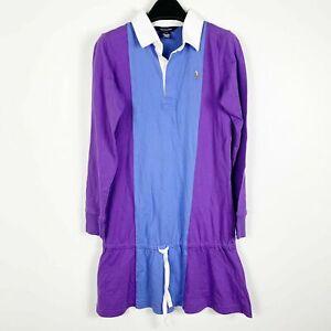 Polo-Ralph-Lauren-Girls-Long-Sleeve-Pony-Tennis-Dress-Sz-XL-16-Purple-Blue-NWT