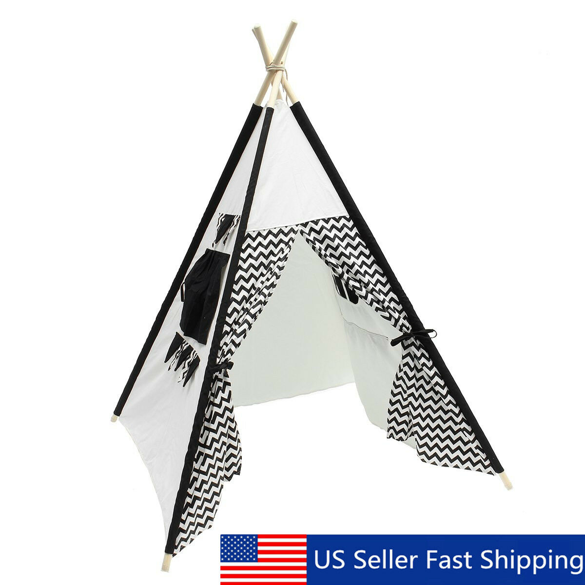 Kids Play Play Play Teepee Tent Playhouse 5.3ft 100% Cotton Canvas Wooden Two Windows ! 8e9774