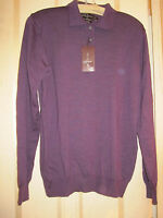 Very Nice Black/ Brown 1826 Eggplant Merino Wool Collared Sweater- Small
