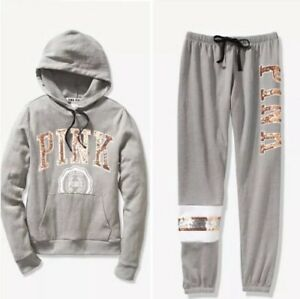 New VICTORIA/'S SECRET PINK Bling Sequins Perfect Hoodie /& Skinny Jogger Pant Set