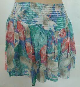 Womens-AEROPOSTALE-Rayon-Tropical-Floral-Smocked-Skirt-NWT-5323