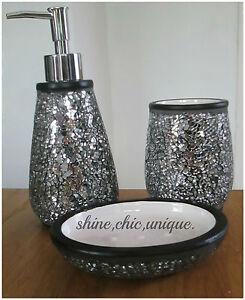 black crackle bathroom accessories. Image Is Loading NEW BLACK CRACKLE MOSAIC MIRROR SPARKLE 3 PIECE  BATHROOM SET EBay