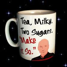 CAPTAIN JEAN LUC PICARD STAR TREK TNG PERSONALISED TEA COFFEE MUG CUP MAKE IT SO