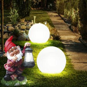 10er Set LED Solar Außen Bereich Steck Leuchten Kugel Hof Tages Licht Lampen