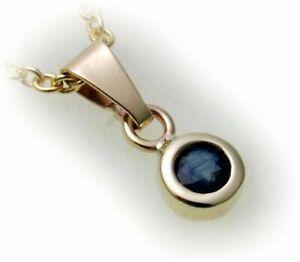 Damen-Anhaenger-Safir-echt-Gold-585-14-karat-Halsschmuck-Gelbgold-Saphir-Neu