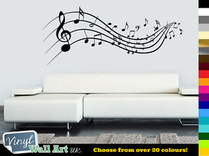 MUSIC-NOTES-Vinyl-Wall-Art-Sticker-Lounge-Bedroom-Various-Colours-FREE-P-amp-P