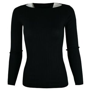 Women-Chain-store-Viscose-Black-Wider-Neckline-Long-Sleeve-Ribbed-Tops-Jumper