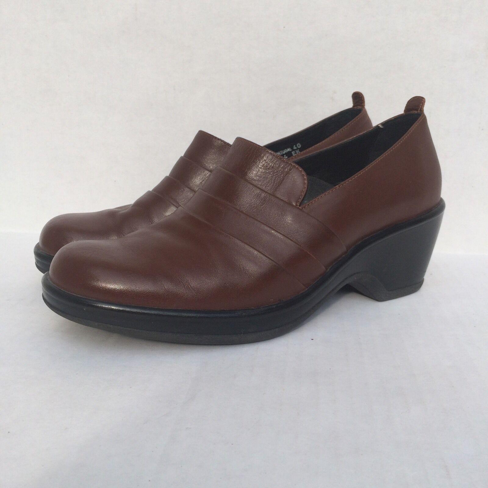 Dansko Chaussures en cuir marron foncé Sabots Mocassins Slip-on Confort Sz 40 9.5 10
