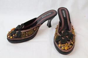 John Fashion 8518 Black Bead Slip-on Mules Kitten Heel Shoes Size