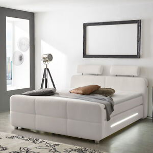boxspringbett gina bett f r schlafzimmer in wei mit topper und led 180x200 ebay. Black Bedroom Furniture Sets. Home Design Ideas