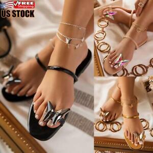 Womens-Butterfly-Toe-Ring-Sandals-Flat-Summer-Slip-On-Slipper-Sliders-Shoes-Size