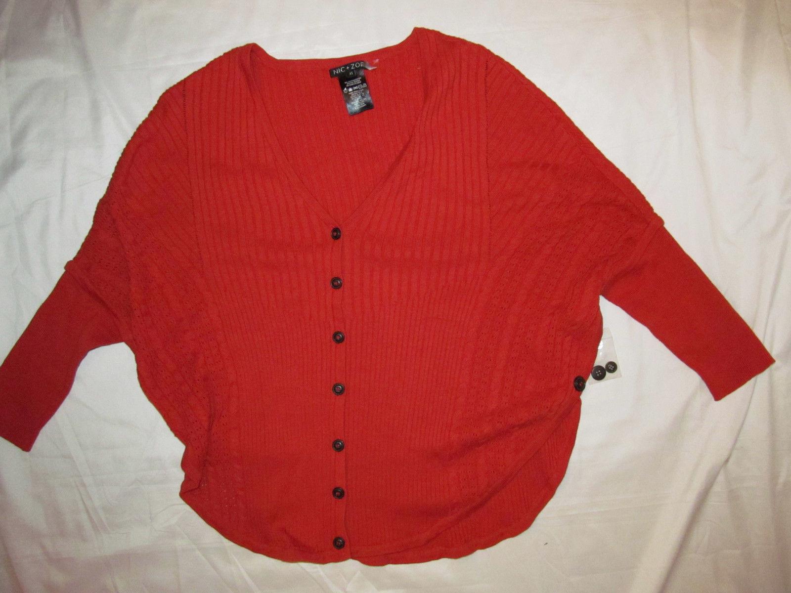 NIC +ZOE ANTHROPOLOGIE coral knit batwing dolman button down cardigan top XS