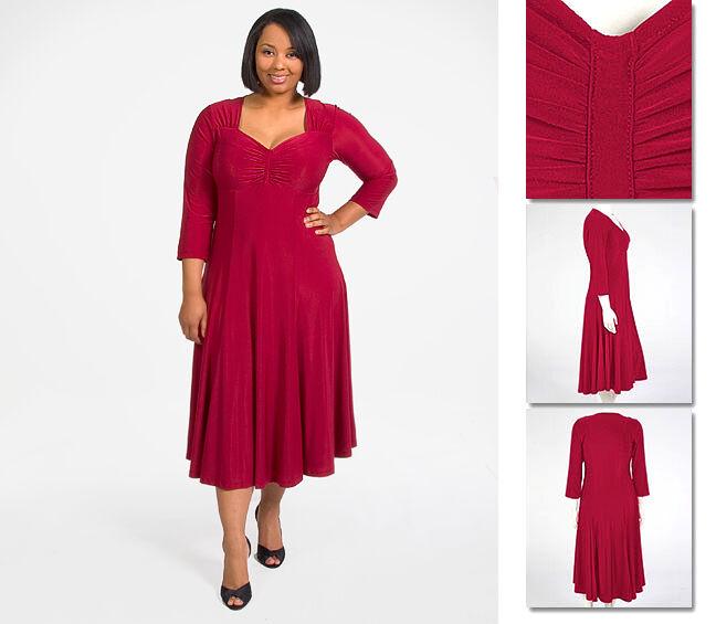 NEW   Zaftique ELEGANT Dress GARNET Red 0Z 1Z   14 16   Large L XL 1X