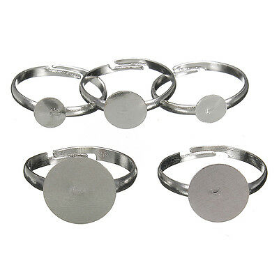 Hot!6/8/10/12mm Adjustable Flat Silver Plated Ring Blanks Findings Pad Glue Base