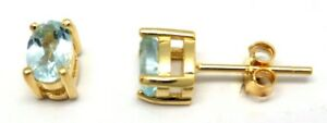 Blue-Topaz-Studs-Oval-4-Mm-x-6-Mm-925-Sterling-Silver-Gold-Plated