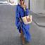 thumbnail 10 - Womens Oversize Long Sleeves Sloping Off Shoulder Loose Maxi Dress Fashion Plus