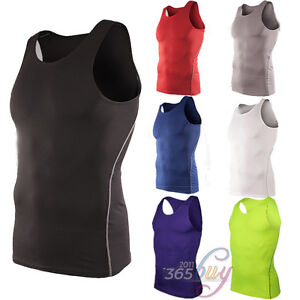 Men-039-s-Sleeveless-Tee-Compression-Under-Base-Layers-Tank-Top-Sports-Muscle-Vest