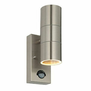 Stainless steel outside twin wall light with pir ip44 led image is loading stainless steel outside twin wall light with pir aloadofball Choice Image