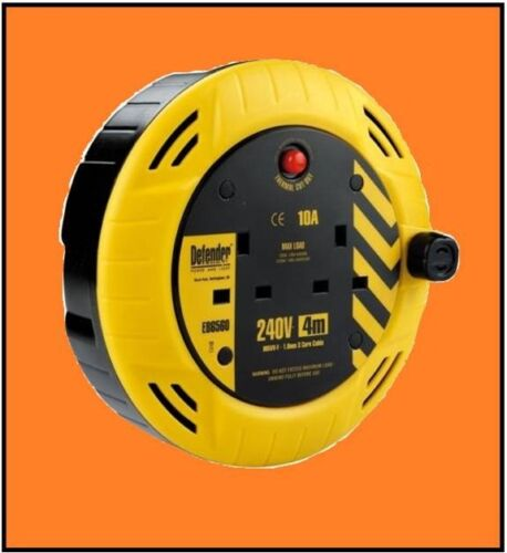 5 X DEFENDER UK 3.7M CABLE EXTENSION REELS 2 GANG 10 AMP  WITH SAFETY CUT-OFF