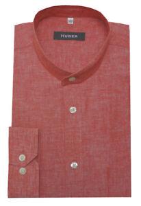 quality design e5628 bf091 Details zu HUBER Stehkragen Leinen Hemd rot Herren Oberhemd Halbleinen  HU-0431 Regular Fit