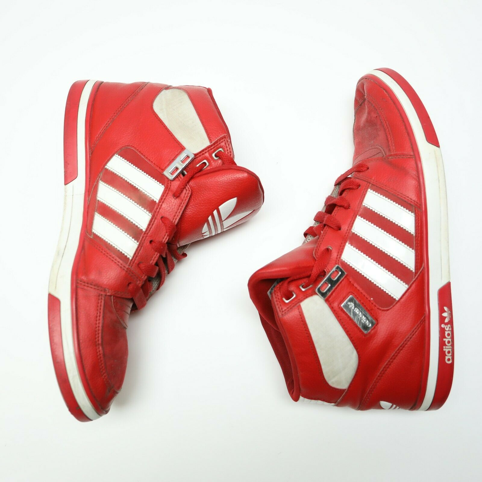 VTG Adidas Men's Size 13 Red White Leather High Top Sneakers shoes Preowned