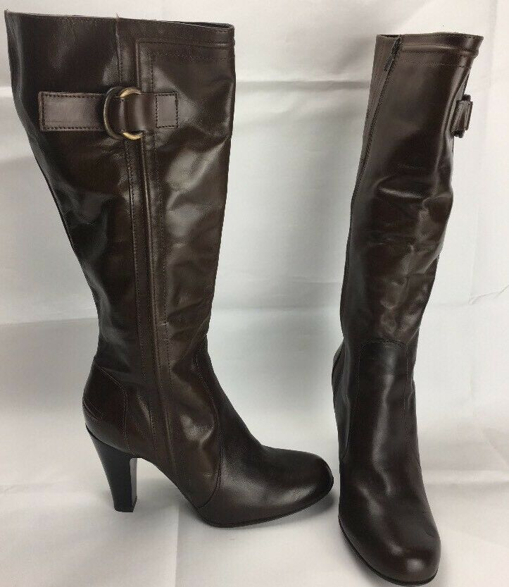 F&F Signature Women Genuine Leather Knee Heel Long Brown Boots