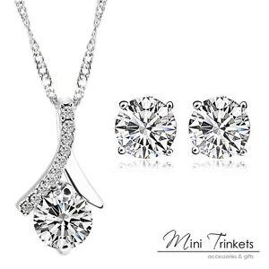 Silver Cubic Zirconia Crystal Drop Necklace Amp Stud Earrings Set