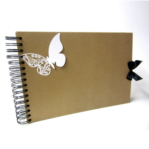 Photo Album Memory Keepsake Guestbook Kraft Vintage A4 Butterfly Scrapbook