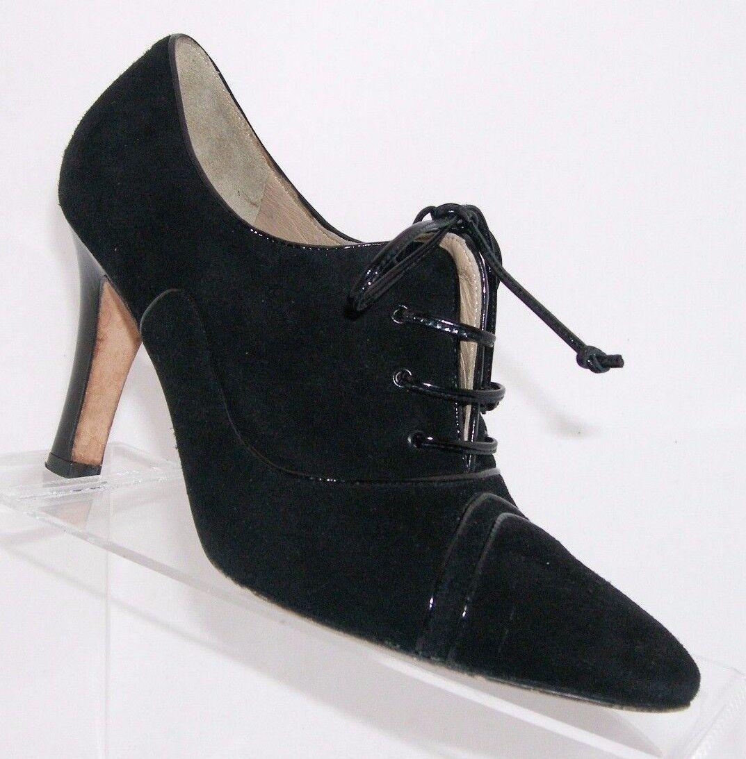 Manolo Blahnik 'Decco' black suede lace up almond toe booties heel 6.5