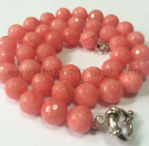 """Fashion Natural 10 mm faceted pink Rhodochrosite Rond Pierres Précieuses Perles Collier 18/"""""""