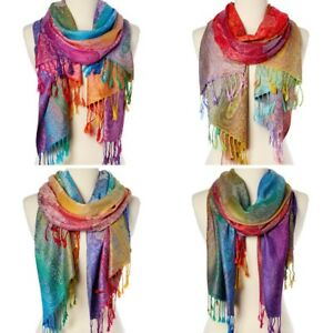 Women-Long-Rainbow-Paisley-Silk-Blend-Pashmina-Scarf-Wrap-Shawl-Plaid-Cozy-Gift