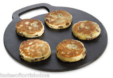 Kitchen Craft Cast Iron Scone Welsh Cakes Griddle Stone Stove Round Plate 27cm