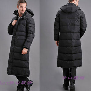 NEW Winter mens Duck down jacket long puffer warm coat Hooded Full