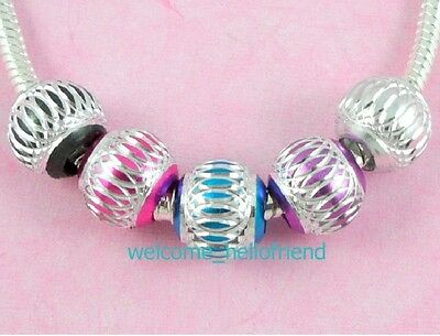 100 Bulk Lots ALUMINIUM Beads Fit European Charm Bracelet . Choose Colour AL13