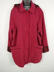 WOMENS-ELIZA-GRAY-DARK-PINK-RED-ZIP-UP-REMOVABLE-HOOD-JACKET-COAT-SIZE-UK-16