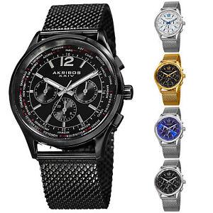 Men-039-s-Akribos-XXIV-AK716-Multifunction-Day-Date-Stainless-Steel-Mesh-Watch