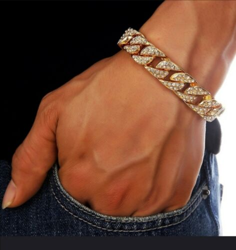 Hombre 24k Oro//Platino Plateado Diamante Artificial Pulsera Con Bolsa De Regalo Gratis
