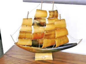 VTG Berkeley House Horn/Brass Model 4 Masted Schooner Sailing Ship Boat Italy