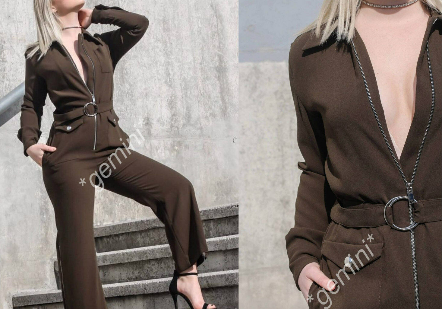 Zara Khaki Long Zipped Belted Jumpsuit Long Playsuit Belt reißversch. Größe S