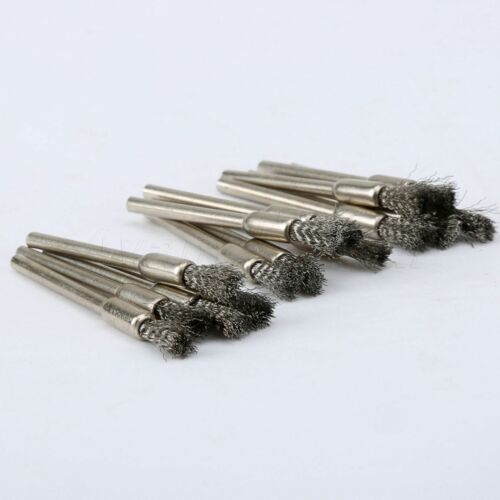 5mm Stainless Steel Wire Brush Die Grinder Shank Power Rotary Drill Tool 15PCS