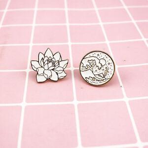 Details about Sunrise Wave Brooches Lotus Flower Enamel Pin Lapel For Hat /  Bag Pins Denim