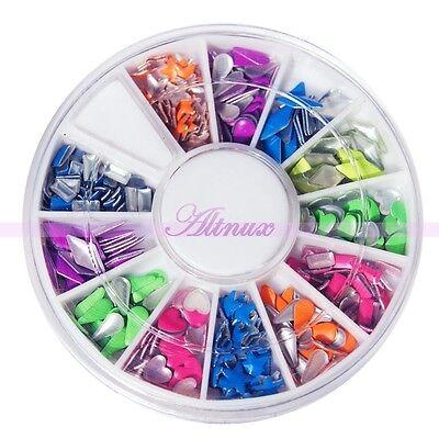 12 Style Nail Art Rivets Rhinestones Decoration Colorful Stud Round Square Wheel